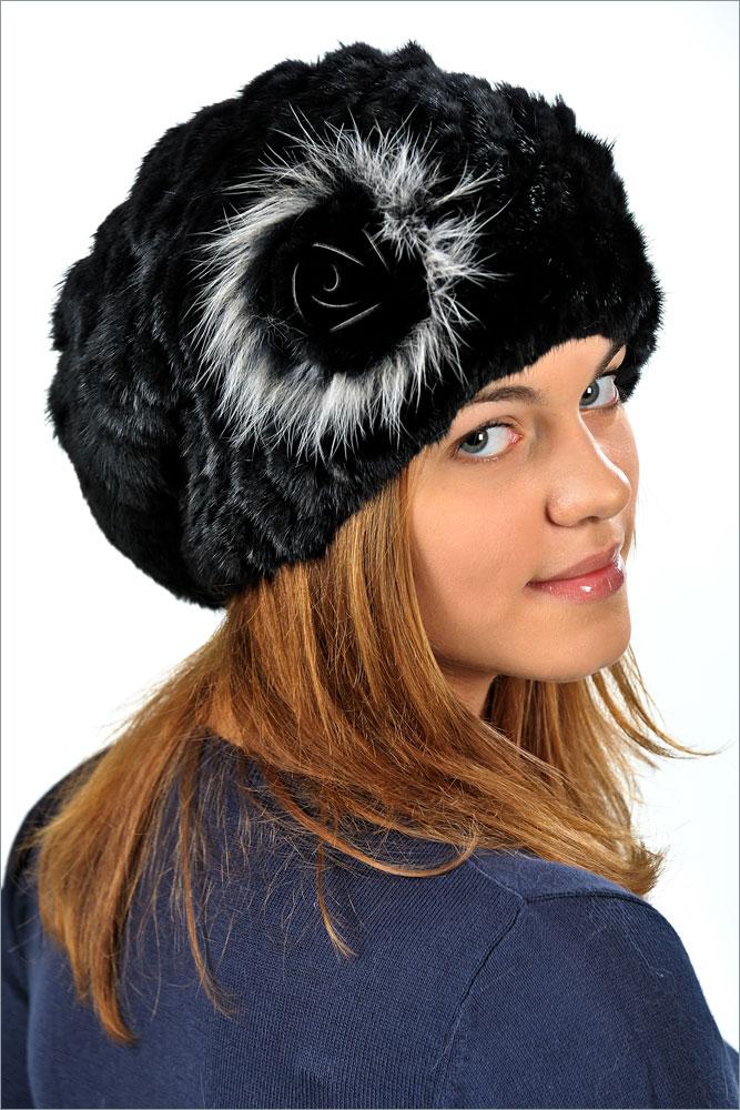 Женская меховая шапка-чулок с цветком (норка) арт. 1202