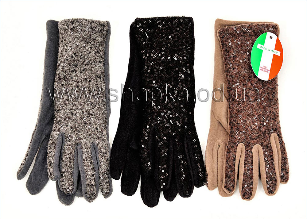 Женские перчатки с пайетками арт.3200