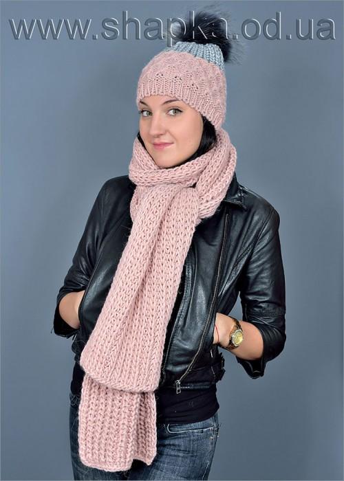 Женская шапка арт. 415 + шарф арт. 508