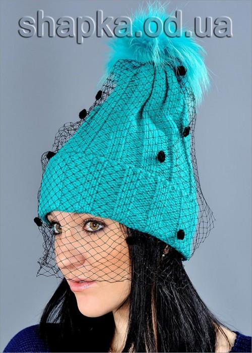 Женская шапка с вуалью арт. 6635