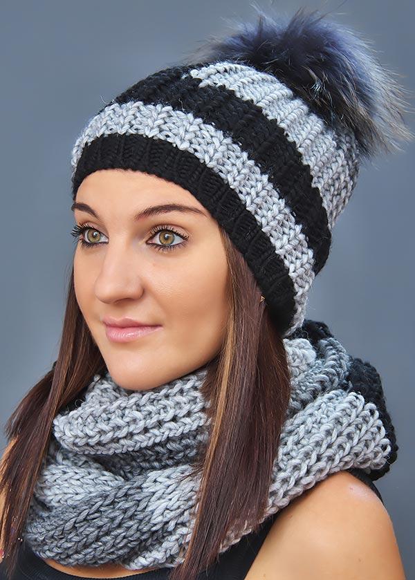 Женская шапка арт. M1462CP + шарф арт. M1462