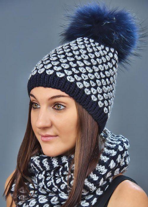 Женская шапка арт. M1627CP + шарф арт. M1627SC