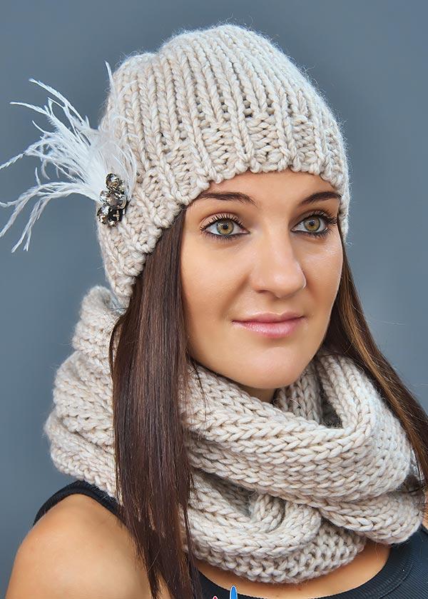 Женская шапка арт. M1629 + шарф арт. M1488E
