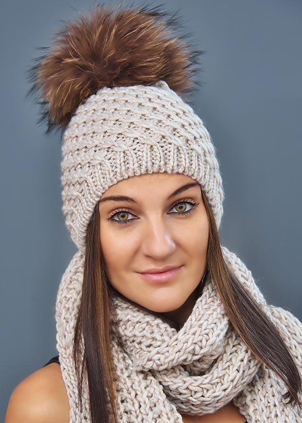 Женская шапка арт. M1625P + шарф арт. M1508SC
