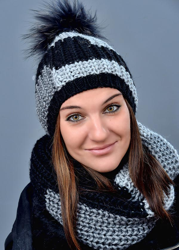 Женская шапка арт. M1580PR + шарф арт. M1580C