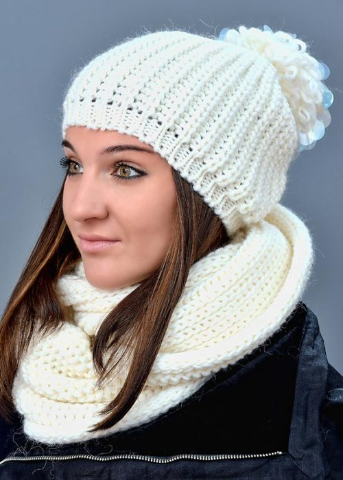 Женская шапка арт. M1617Р + шарф арт. М1488Е